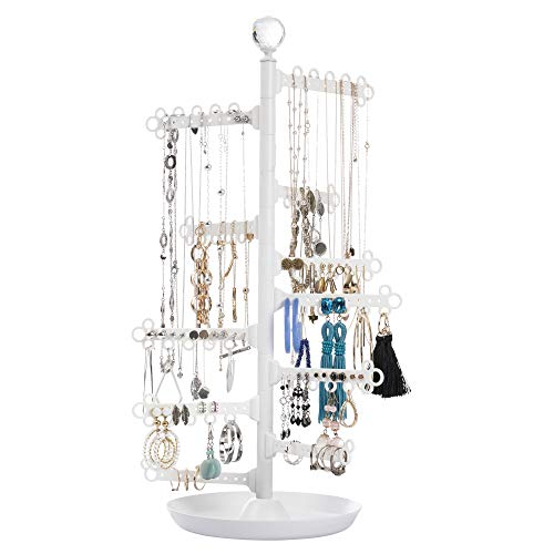 """All Hung Up ~ 12-Tier 17.5"""" ~ Large Capacity Rotating Jewelry Holder ~ Earrings (120 holes) Necklaces Rings Bracelets ~ Organizer Display Stand Tower Table Top Tree Rack Storage with Tray Base - White"""