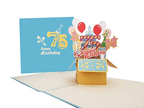 iGifts And Cards Happy 75th Blue Birthday Party Box 3D Pop Up Greeting Card – Seventy-Five, Awesome, Balloons, Unique, Celebration, Feliz Cumpleaños, Fun, Mom, Dad