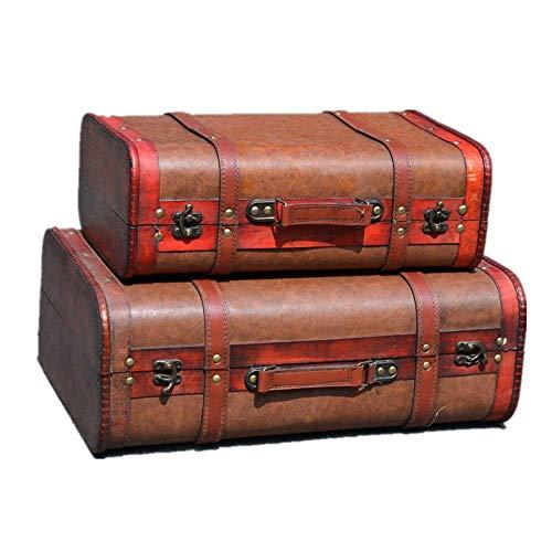GPWDSN Caja Decorativa, Retro, Antiguo, Antiguo, portátil, Maleta de Madera, Organizador de Joyas, Adornos de decoración, Cajas de Edad (A, 2 Piezas)