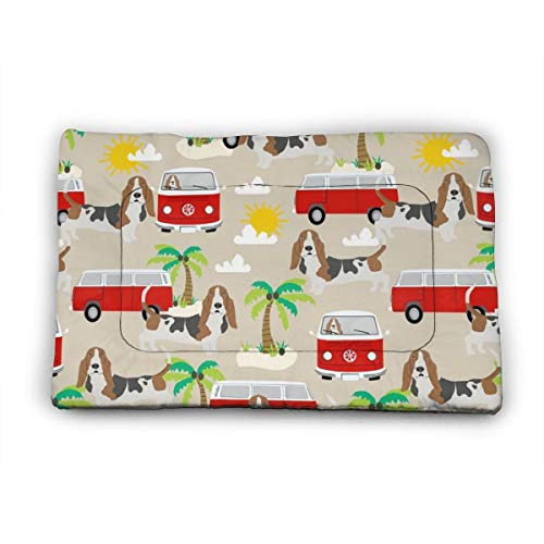 Medium Dog Bed Mat Wasbaar Krattenmatras 35 Inch Niet Slip Huisdier Kussen Pad Basset Hond Hond Beach Bus Hippie Bus Palm Bomen, 35