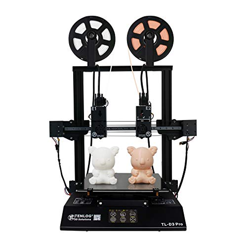 TENLOG TL-D3 Pro 3D Printer, Independent Dual Extruder 3D Printer with Upgrade Borosilicate Glass Bed,Silent Mainboards TMC2208 Drive Support PVA TPU ABS PLA,Direct Feed,11.8''x11.8''x13.8''