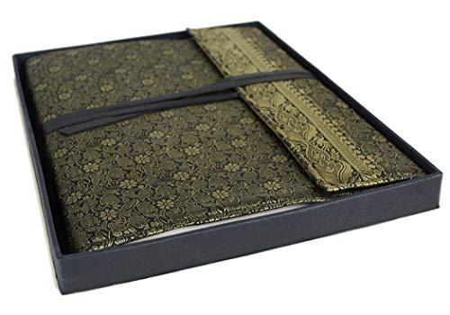 Handgefertigtes Fotoalbum aus Sariseide Schwarz/Gold, klassische Seiten (26cm x 33cm), 6725