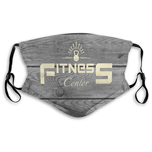 Mode Bequeme Winddichte Maske, Fitness Club On Wooden Planks Backdrop Aerobics Energy Training Print, Gedruckte Gesichtsdekorationen für Unisex M