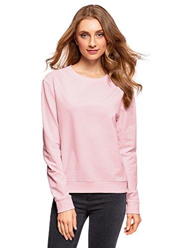 oodji Ultra Damen Baumwoll-Sweatshirt Basic, Rosa, DE 34 / EU 36 / XS