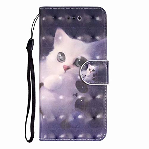 Handyhülle für LG Q60 / LG K50 PU Lederhülle Hülle Case Schutzhülle Brieftasche Bookstyle Handytasche Leder Flip 3D Gemalt Wallet Cover Ledertasche Kartenfach Magnetverschluss weiße Katze
