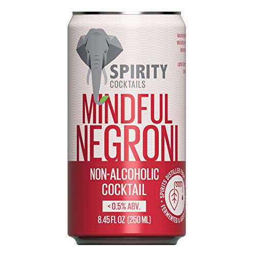 Spirity Cocktails - Mindful Negroni, Non Alcoholic Cocktail, Spirits Distilled from Tea, 8.45 fl oz Cans (4-Pack)
