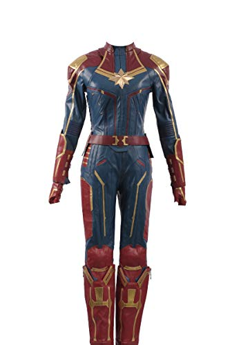 Captain Marvel Carol Danvers Cosplay Kostüm Leder Mädchen Outfit