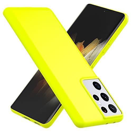 NALIA Neon Cover compatibile con Samsung Galaxy S21 Ultra Custodia, Sottile Protettiva Morbido Silicone Gel Copertura Antiurto, Case Skin Resistente Telefono Cellulare Gomma Bumper, Colore:Giallo