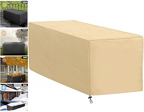 Cubierta de Mesa Impermeable,200x140x75cm Rectángulo Funda Muebles Jardin Exterior,420D Oxford,Resitente al Polvo,Anti-UV,Beige
