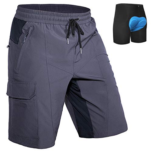 Hiauspor Mens Mountain-Bike-Shorts MTB with Padding Loose-fit(Grey, S)