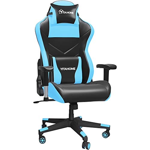 YITAHOME Massage Gaming Chair Big and Tall 350lbs Heavy Duty Ergonomic Video Game Chair High Back Office Computer Chair Racing Style with Headrest and Lumbar Support,Light Blue