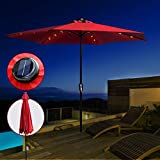 Ombrellone da Giardino con LED Solare Ombrellone Alluminio da Terrazzo Inclinazione Ombrellone a...