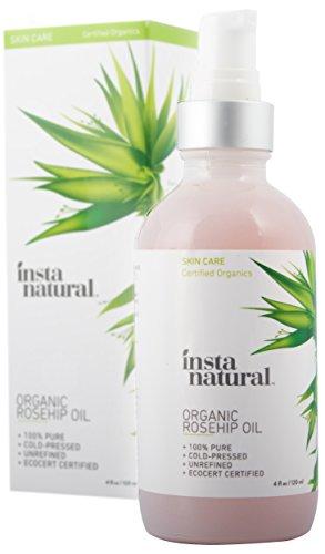 InstaNatural Hagebuttenkernöl – organisches, kaltgepresstes Öl für Gesicht & Körper – Das Öl hilft gegen Narben, Dehnungsstreifen, Falten, feine Linien und krauses Haar – auch für Männer! – 120ml