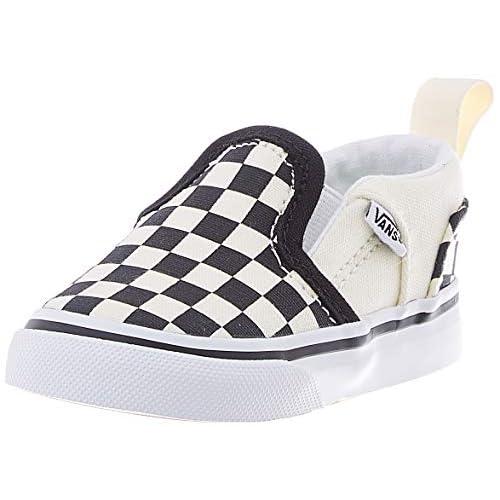 Vans Asher V-Velcro, Sneaker, Bianco Checkerboard (Black/Natural), 18 EU