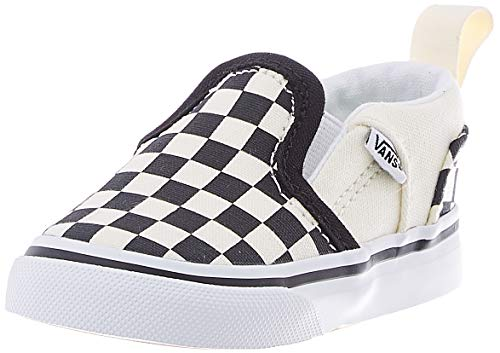 Vans Asher V-Velcro, Sneaker, Bianco Checkerboard (Black/Natural), 24 EU