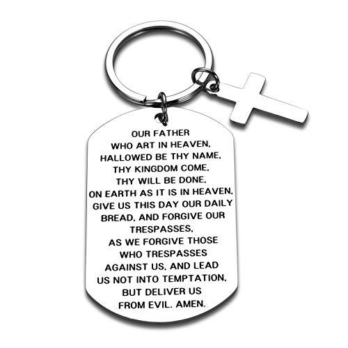 Llavero de versículo bíblico para mujeres, hombres, señores, oración, cruz, regalo para niños, niñas, hijos, hija, cruz, llavero religioso, para él, su novio, papá, joyería cristiana, colgante de acero inoxidable
