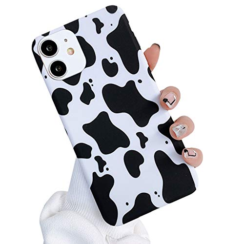 Cow Print Case Compatible with iPhone 11, Fxlzcw Cute Luxury Fashion Slim Thin Soft TPU Silicone Shockproof Protective Cover for Women Girls 6.1 inch - (Black White)