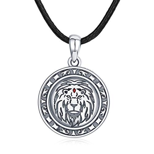 CUOKA MIRACLE Lion King Necklace for Men Boys Sterling Silver Celtic Lion Head Pendant Leo Necklace Biker Coin Necklace with Black Leather Rope for Teen