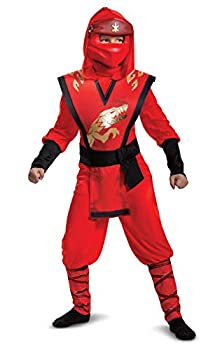Lego Ninjago Kai Jumpsuit Deluxe Child Costume for Boys Red & Black Kids Size Large  10-12