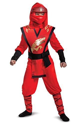Disguise Kai Costume for Kids, Deluxe Lego Ninjago Legacy Themed Children's Character Jumpsuit, Child Size Large (10-12), Red & Black (105409G)