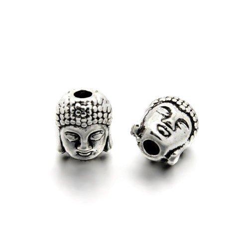 Charming Beads Paket 5 x Antik Silber Tibetanische 8 x 10mm Buddha Kopf Perlen HA17550