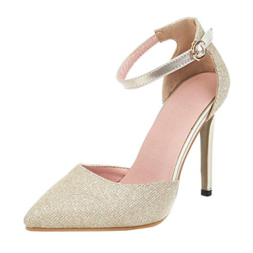 MISSUIT Damen Glitzer High Heels Spitze Pumps mit Riemchen Stiletto Pailletten Pfennigabsatz 11cm Schuhe(Gold,35)