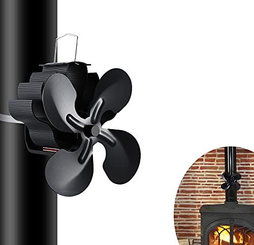 Ventilateur de Poele a Bois,4 Lames Alimenté à la Chaleur Ventilateur Cheminee,pour Poêle à Bois/Cheminée/Gaz/Granulés/Bûches