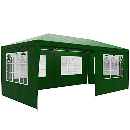 Casaria Pavillon 3x6m UV-Schutz 18m² Wasserabweisend 6 Seitenteile Festzelt Partyzelt Fenster Gartenzelt Fest Grün
