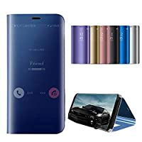 HSW ミラーSamsung ケース - Samsung Galaxy Note 9 Note 8 S9 S9 Plus S8 S30 Plus ケース金属メッキスマートクリアビューフリップフォリオケース支柱防振保護化粧鏡ケースカバー (ピンク、Samsung Galaxy S9 Plus)