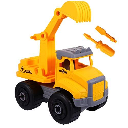 Tomaibaby Niños Ingeniería Excavadora Coche Montaje de Bricolaje Construcción Camión Sitio de Construcción Vehículo Modelo Educativo Desmontable Modelo de Coche