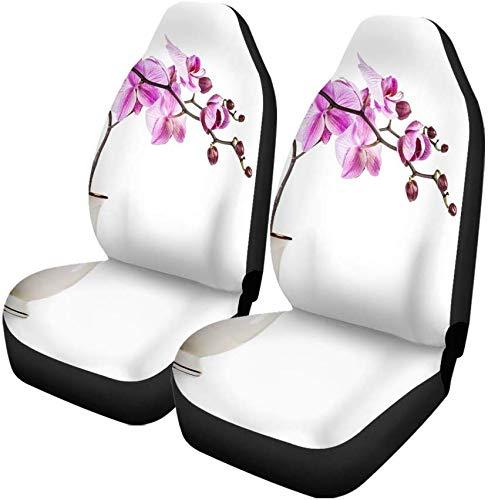 Set van 2 auto stoelhoezen antieke paars orchidee bloemen in retro vaas regeling universele auto voorstoelen beschermer past voor auto, Suv Sedan