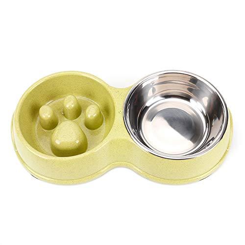 Slow Food Bowl voor huisdier hond kommen langzaam voedsel dubbele kommen roestvrij staal hond kat voeden drinken kommen voedsel kommen voor kleine (Kleur: groen, maat: 32x13.5x14x5cm)
