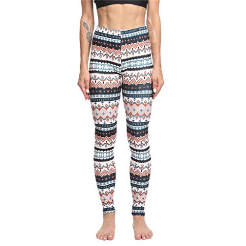 Iusun Women's High Waist Christmas Print Yoga Pants Xmas Sports Hips Leggings Trousers for Workout Running Sport Fitness Gym