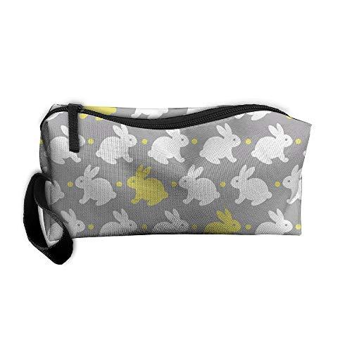 Weiße und gelbe Kaninchen mit Schleife, bedruckt, tragbar, Nähset, Patronentasche, Kosmetiktasche, Oxford-Stoff