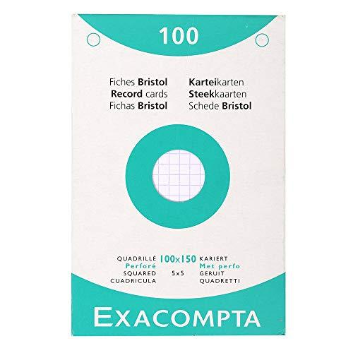 Exacompta 13602E Karteikarten (205q/qm Karton, holzfrei, DIN A6, kariert, gelocht) 100er Pack weiß