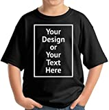 Custom Shirt for Kids Boys Girls Personalized Your Own Image Photo Text T-Shirt Front Print ONLY Black S