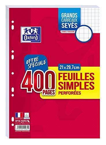 Oxford 400 Seiten einfaches Blatt, große Karos, Seyès-Stil, A4 (21 x 29,7 cm) perforiert