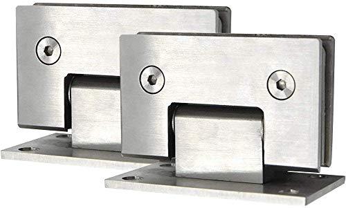 2 abrazaderas de puerta de acero inoxidable, bisagras de vidrio de 90 grados montadas en la pared para puerta de cristal/vitrina de vidrio/puerta de armario de cristal,adaptables de 0,3-0,5 pulgadas