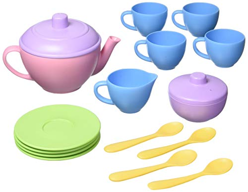 Green Toys Tea Set, Pink CB - 17 Piece Pretend Play, Motor Skills, Language & Communication Kids Role Play Toy. No BPA, phthalates, PVC. Dishwasher Safe, Recycled Plastic, Made in USA.