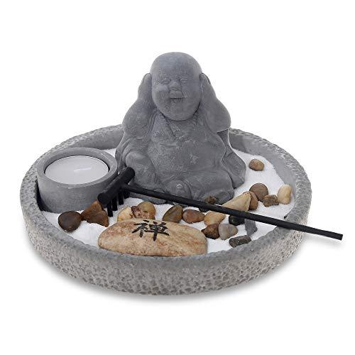 Flanacom Zen Jardín con figura de Buda – Miniatura japonesa Jardín – Soporte para varillas de incienso – Juego de 3 varillas de incienso – Amuleto de la suerte del Budismo y Daoismo (gris)