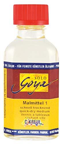 Kreul 310-1000 ML - Solo Goya Malmittel 1, trocknungsbeschleunigend, 1000 ml Flasche, harzreicher Trocknungsbeschleuniger, zum Verdünnen von Künstler-Ölfarben und für eine schnelle Durchtrocknung