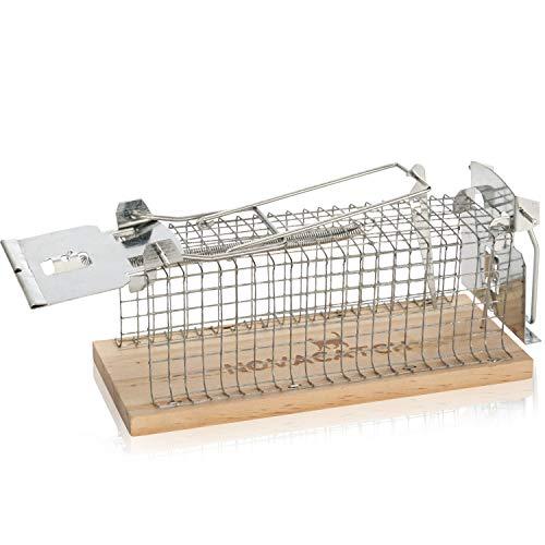 Novacatch® Mausefalle Lebend (1 Stück) – lebendfallen Mäuse mit Doppeltür für leichtes befüllen des Auslösers Inkl. Anleitung & Ködertipps - Verbesserte Falltüren verringern Verletzungsrisiko