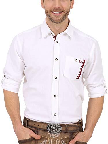 Krüger Herren Trachten Hemden lang, Modell: Fritz, Langarm, weiß/rot, Art.-Nr. 097142-0-0190, XL,