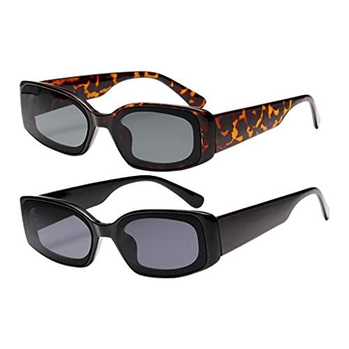 Paquete de 2 gafas de sol de estilo retro para mujer, color caramelo, con montura cuadrada, gafas de moda
