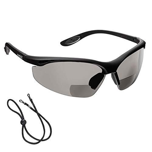 voltX 'Constructor' BIFOKALE Schutzbrille mit Lesehilfe (RAUCHGRAUE +2.0 Dioptrie) CE EN166F Zertifiziert/Sportbrille für Radler enthält Sicherheitsband – Bifocal Safety Glasses