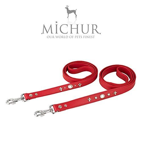 MICHUR Julieta riem, hondenleider, lederen hondenriem, passend bij de ketting Julieta, rood, LEATHER, met lelies, strass steentjes en groot kristal