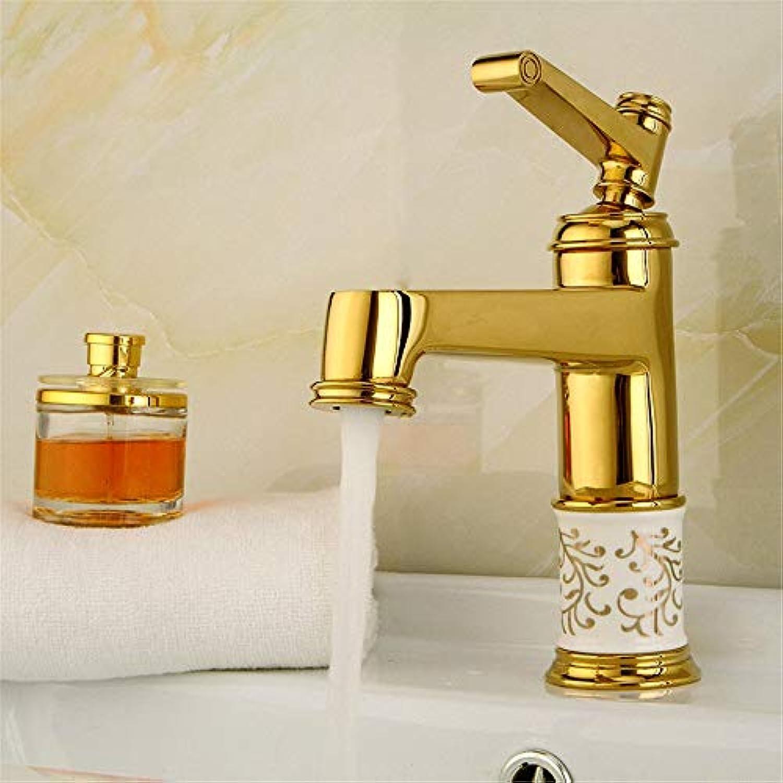 CFHJN Home Wasserhahn Wasserhahn Bad Wasserhahn Alle Kupfer Keramik Warm Und Kalt Mischwasser Becken Spültopf Goldene Küche