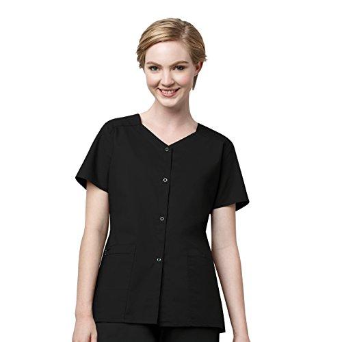 WonderWink 'WonderWORK Short Sleeve Snap Jacket' Scrub Jacket Black X-Large