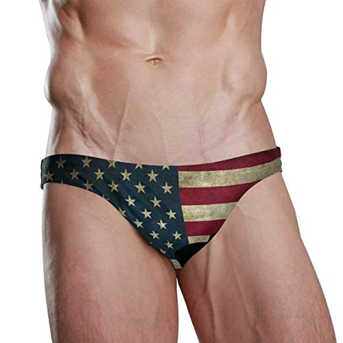 Quecci Sonnendurchlässige Badehose Mens Swim Briefs Trunk American Canada Flag Athletic Swimsuit Beach Shorts Board Triangle Bikini Swimwear