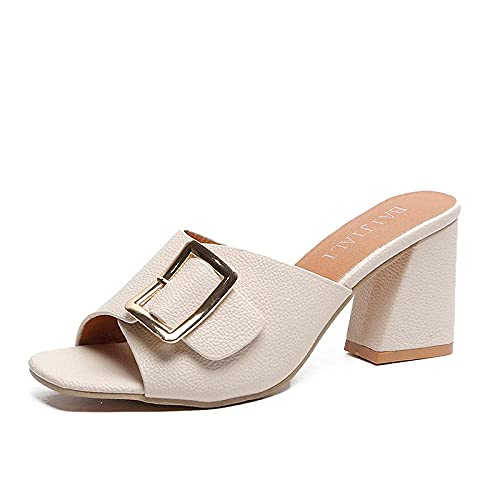 Cushioned Moccasin Shoes Rough with Beach Shoes Belt Buckle Thick with One Word-Creamy-White_35 Casual Peep Toe Anti Slip Slippers